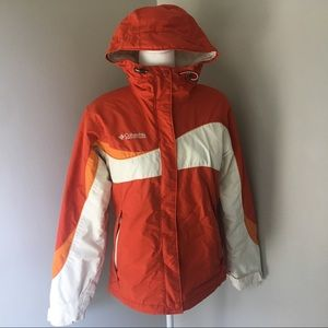 COLUMBIA Orange Fleece Lined Winter Coat
